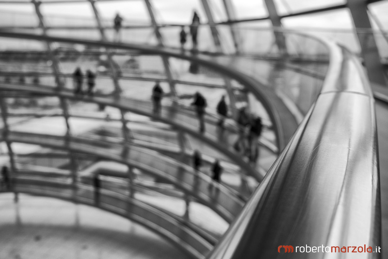 Point of view, Reichstag dome, perspective, elevated walkway, black and white, steel, Berlin