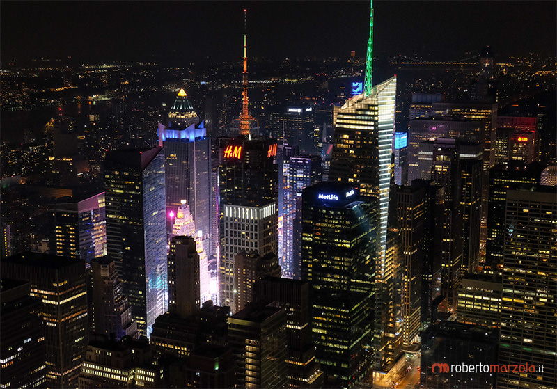 New York nightscape - NY, New York, nightscape